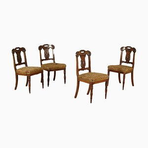 Italian Restoration Walnut Chairs, 1800s, Set of 4
