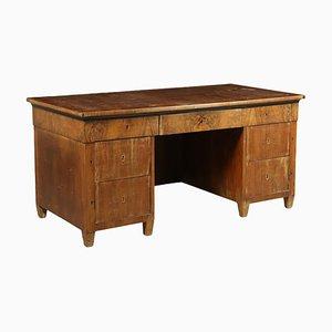 Großer antiker Schreibtisch aus Nussholz & Ahorn
