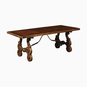 Antique Walnut Refectory Table with Lyre Legs, 1900s