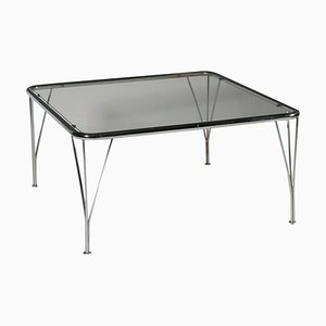 Vintage Italian Chromed Metal & Glass Coffee Table