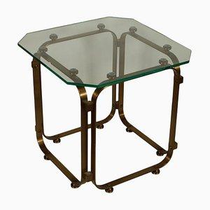 Tavolino da caffè vintage in ottone e vetro, Italia, anni '60