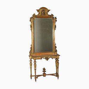 Consola de mármol con espejo, década de 1800
