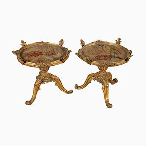 Round Antique Gilded Coffee Tables, 1800s, Set of 2