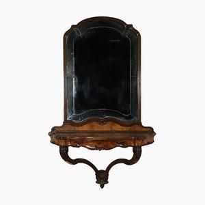 Mesa consola italiana con espejo, década de 1900