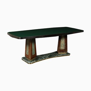Mesa de chapa de palisandro, vidrio y mármol, años 50