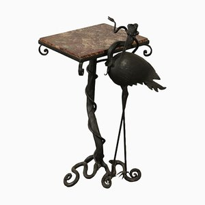 Wrought Iron Coffee Table with Marble Top, 1900s