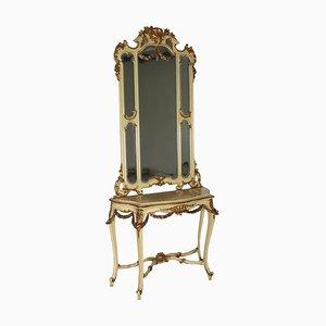 Consola vintage con espejo y mármol
