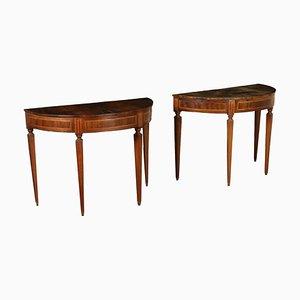 Halbmondförmige neoklassizistische Konsolentische, 1700er, 2er Set
