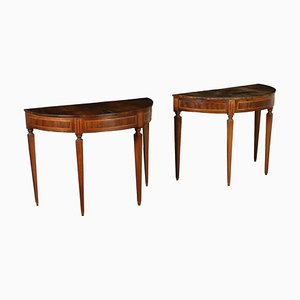 Neoclassical Demilune Console Tables, 1700s, Set of 2