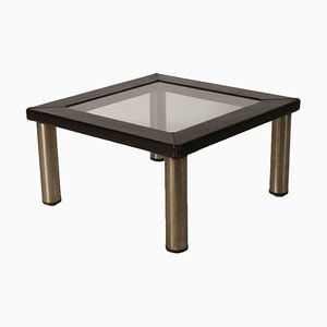 Leather, Wood, Metal & Glass Coffee Table, 1970s