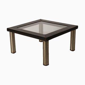 Tavolino da caffè in pelle, legno, metallo e vetro, anni '70