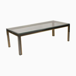 Vintage Chromed Metal, Brass & Glass Coffee Table