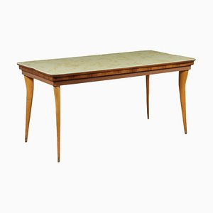 Table Vintage en Hêtre, Verre et Marbre