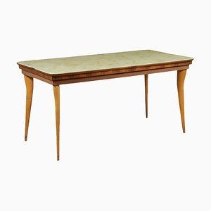 Tavolo vintage in faggio, vetro e marmo