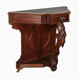 Mesa consola de nogal con cariátide tallada, década de 1800