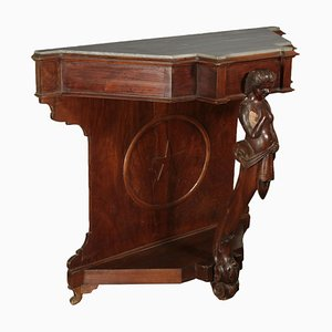 Walnut Console Table with Carved Caryatid, 1800s