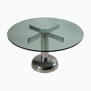 Tavolo rotondo Mid-Century in metallo cromato e vetro, Italia