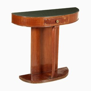 Mahogany Veneer & Glass Wall Mounted Console Table, 1950s