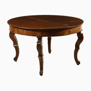 Tavolo rotondo allungabile in noce, XIX secolo