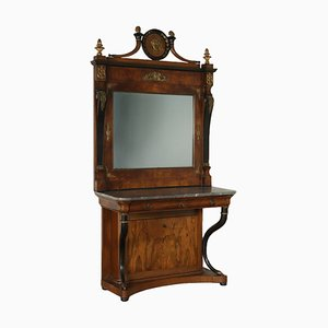 Consola italiana con espejo, década de 1800