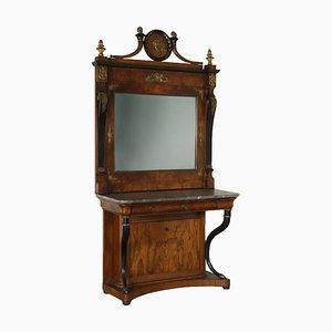 Italienische Konsole mit Spiegel, 1800er