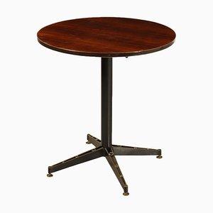 Mesa de chapa de caoba, latón y metal, años 60