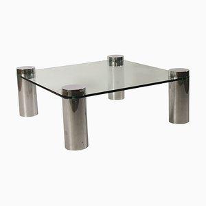 Tavolino da caffè in metallo cromato e vetro, anni '70