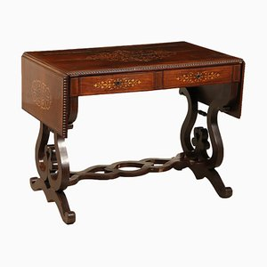 Mesa abatible inglesa de arce y caoba, siglo XIX