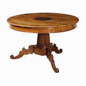 Tavolo rotondo in olmo intarsiato, inizio XIX secolo