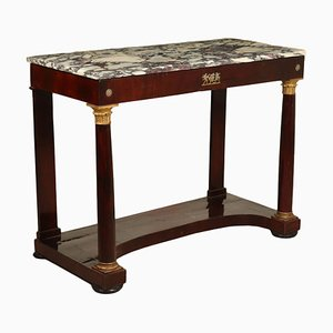 Empire Walnut & Bronze Console Table with Marble Top, 1800s