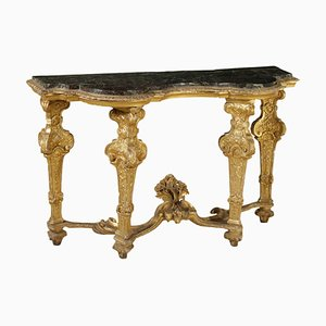 Table Console en Marbre & Bois Doré, 1700s