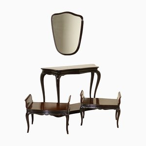 Juego vintage con espejo, mesa consola y dos bancos, años 50