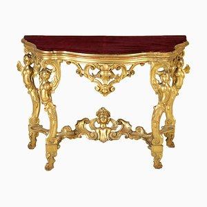 Table Console Baroque Dorée, 1800s