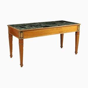 Italienischer Tisch aus Kirschholz, Tannenholz & grünem Marmor, 19. Jh.