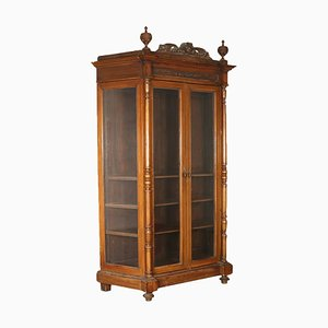 19th-Century Italian Walnut Display Cabinet