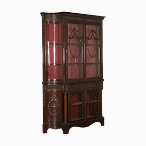 19th-Century English Carved Mahogany Display Cabinet