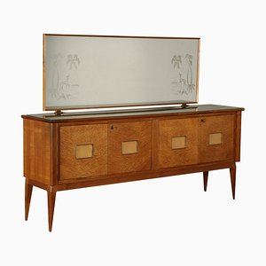 Mahogany & Burl Veneer Buffet with Mirror, 1950s