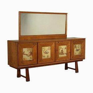Buffet de chapa de madera de arce con espejo, años 40