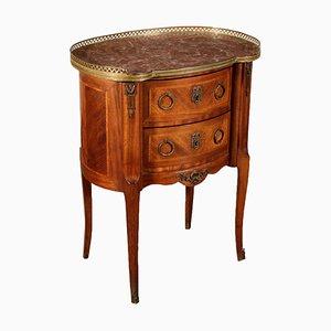 Tavolino da caffè vintage in palissandro e ottone