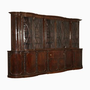 Large English Maple & Mahogany Bookcase, 1800s