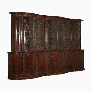 Librería inglesa grande de arce y caoba, década de 1800