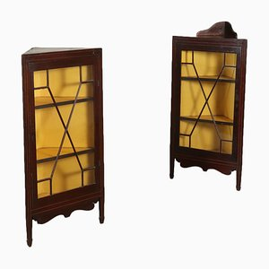 Antique English Corner Display Cabinets, Set of 2