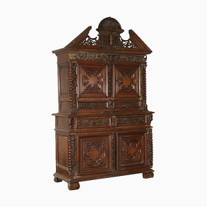 Antique Italian Walnut Carved Double Body Cupboard