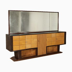 Vintage Italian Ash Veneer Buffet with Mirror