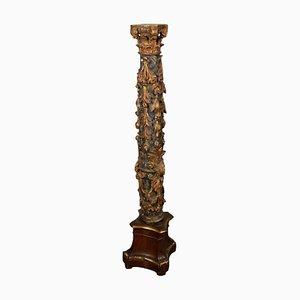 Columna italiana tallada, lacada, tallada, siglo XVII
