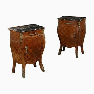 Vintage Baroque Style Italian Mahogany Nightstands, Set of 2
