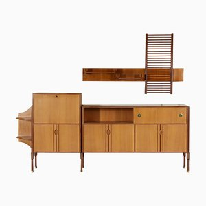 Italian Teak Veneer Buffet with Hanging Shelf, 1960s