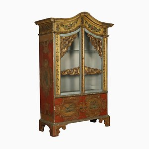 Antique Italian Lacquered Wood & Glass Cabinet