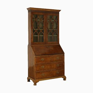 Antique Italian Walnut Bookcase with Double Body