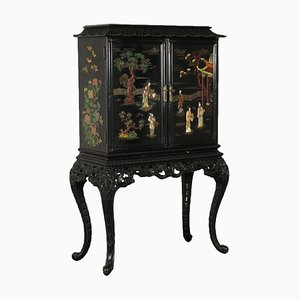 Antique Chinoiserie Lacquered Wood Bar Cabinet